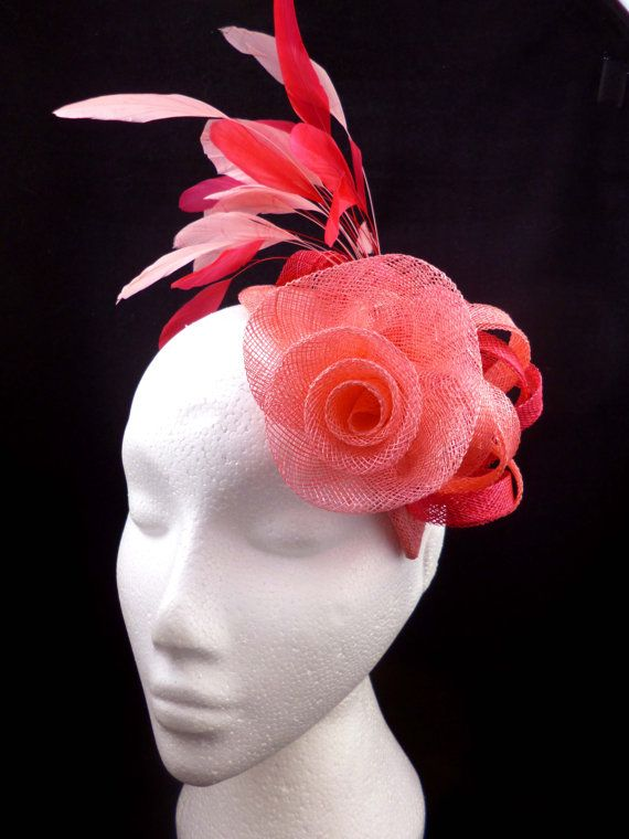 Fascinator hat flamingo pink and raspberry pink by Spirit of Harlequin ac7cd8eb51b