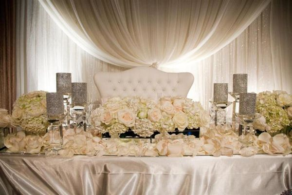 I love this the colors are a bit cold but i think the table cloth our wedding loveseat for the sweetheart table or the wedding top table junglespirit Image collections