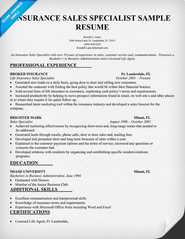 Insurance Agent Sample Resume Insurance #sales Specialist Resume Resumecompanion  This .