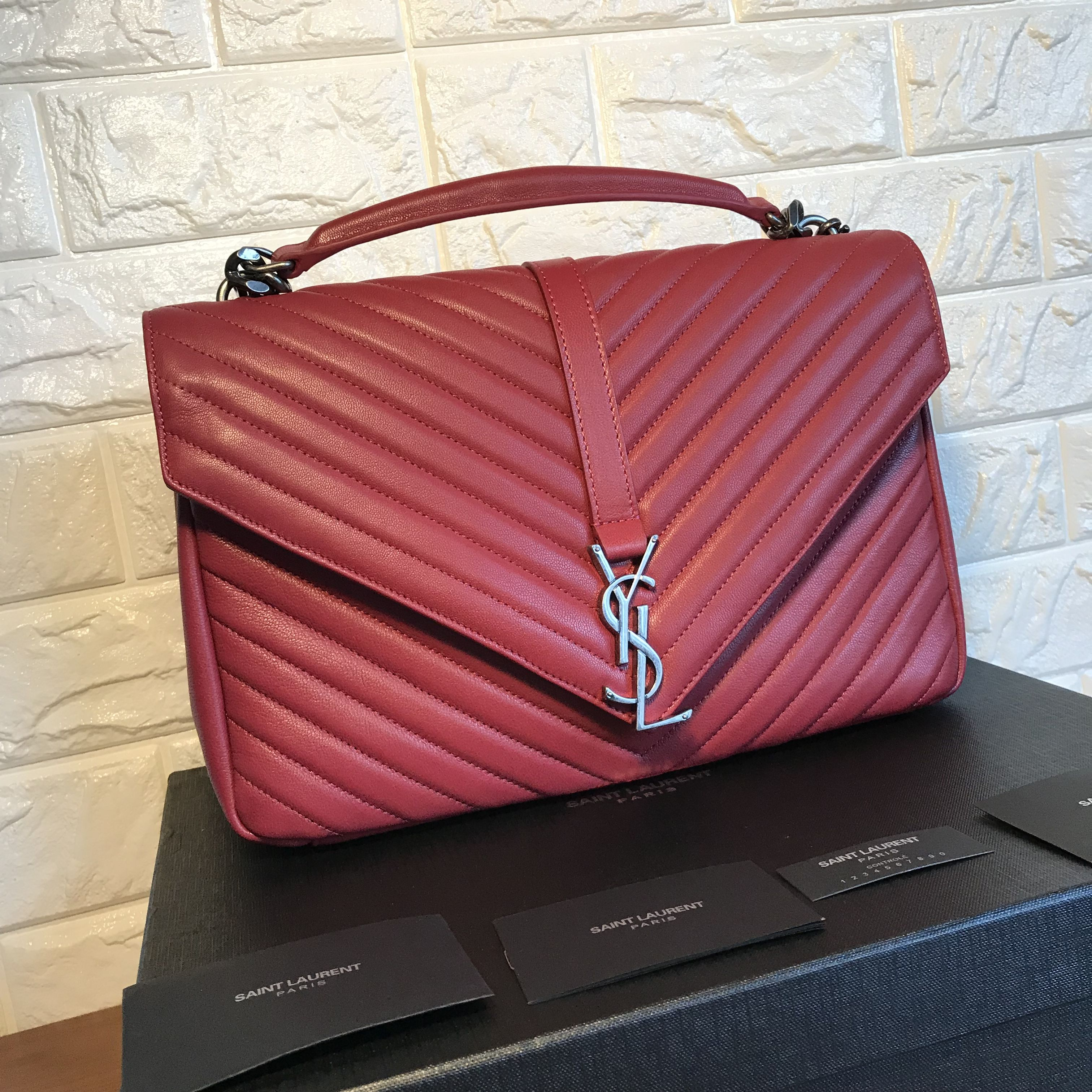 1f37bcd6a6 YSL Saint Laurent college bag red color original leather large size 32cm