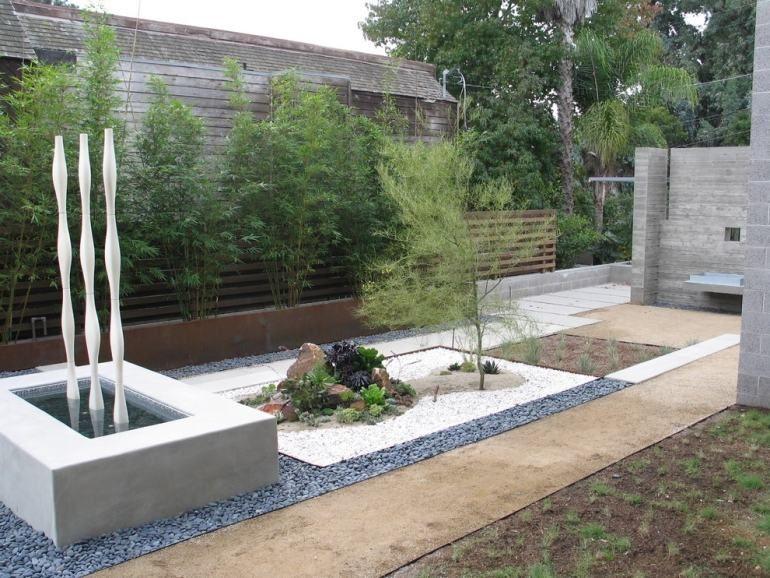 steingartenanlegenideenzierkiesgartenbrunnenpflanzen