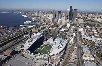 Aerial Of Qwest Field And Downtown Skyline 2002 Skyline