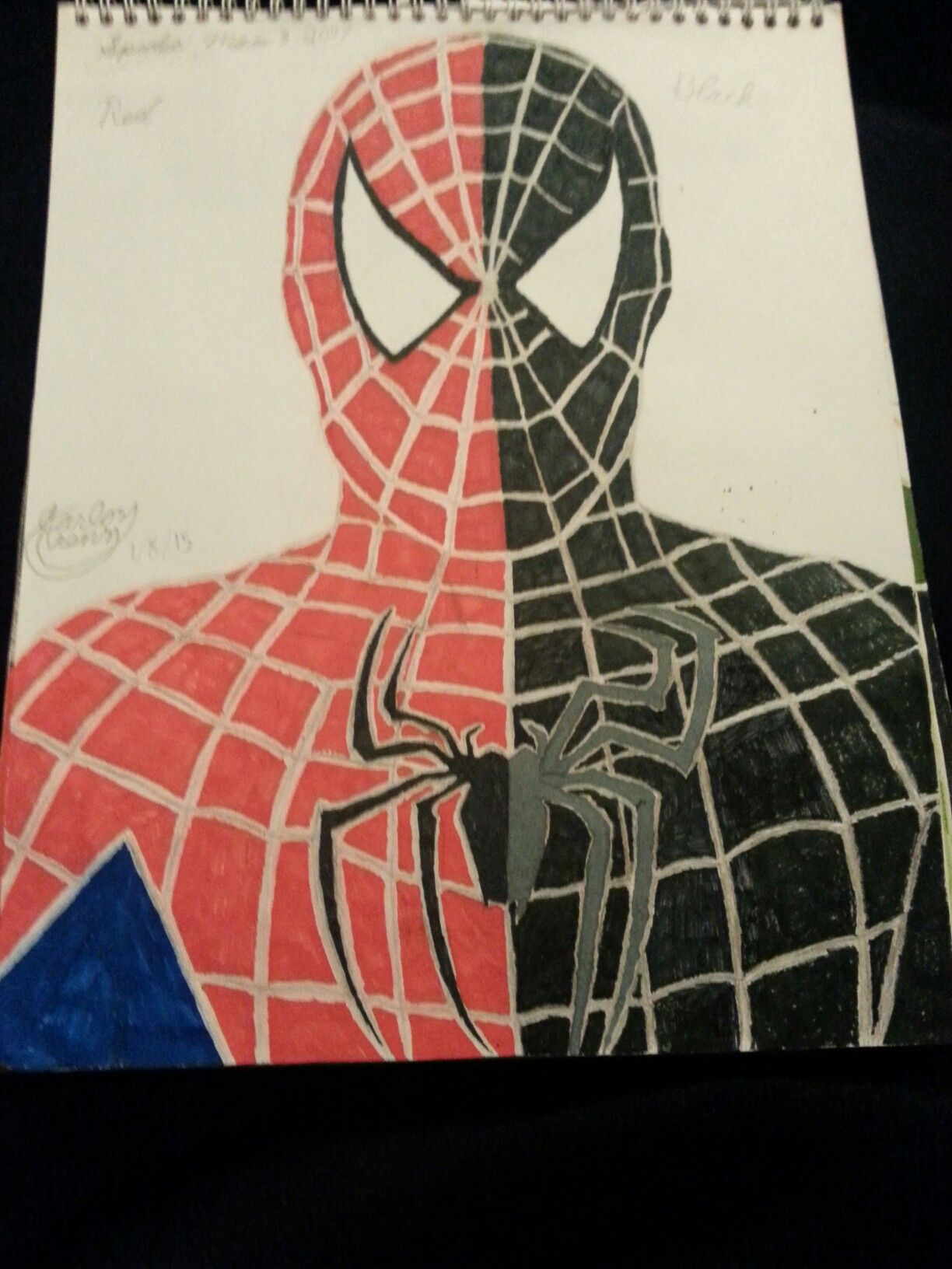 Spider Man 3 red and black suit drawing | spider man ...