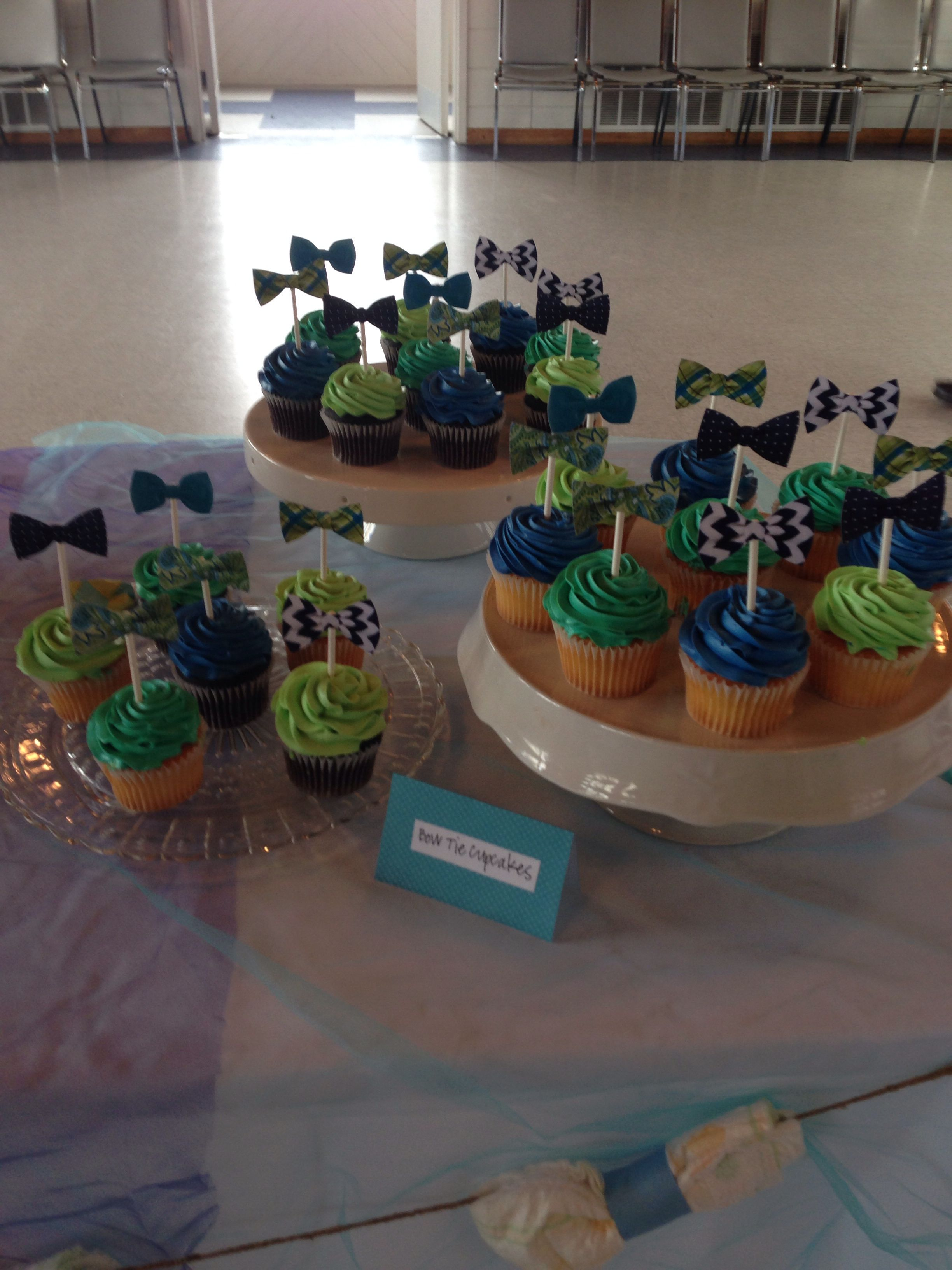 bow tie cupcake toppers for little man baby shower theme. Black Bedroom Furniture Sets. Home Design Ideas