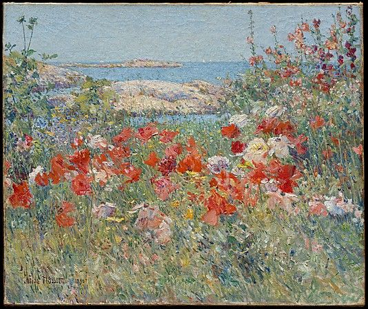 Childe Hassam (American, 1859-1935). Celia Thaxter's Garden, Isles of Shoals, Maine, 1890. The Metropolitan Museum of Art, New York. Anonymous Gift, 1994 (1994.567) | This garden, which frames a view of sun-bleached Babb's Rock, offers a sumptuous contrast to the island's rugged terrain. Created during Hassam's first summer after returning to the United States, the canvas suggests his delight in nourishing his Impressionist style in a visually exciting and historically evocative rural…