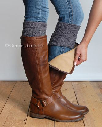 Cable Knit Boot Cuffs In Light Grey Dark Grey Natural Or Rust