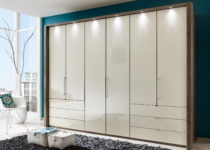 Elegant Kleiderschrank Loft praktischer Kleiderschrank mit Faltt ren und Glasfront in Magnolie http