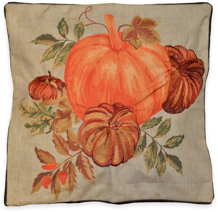 Harvest Pumpkins 18-Inch Square Throw Pillow in Natural