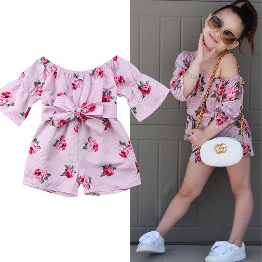 UK Infant Baby Girl Clothes Floral Outfit Party Beach Jumpsuit Kid Long Playsuit