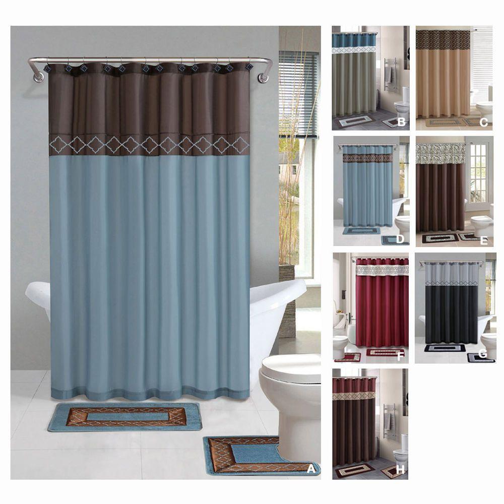 Contemporary Bath Shower Curtain 7 Pcs Modern Bathroom Rug Mat
