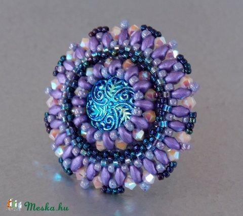 Üveg gombos - gyöngy hímzett gyűrű (Muttery) - Meska.hu