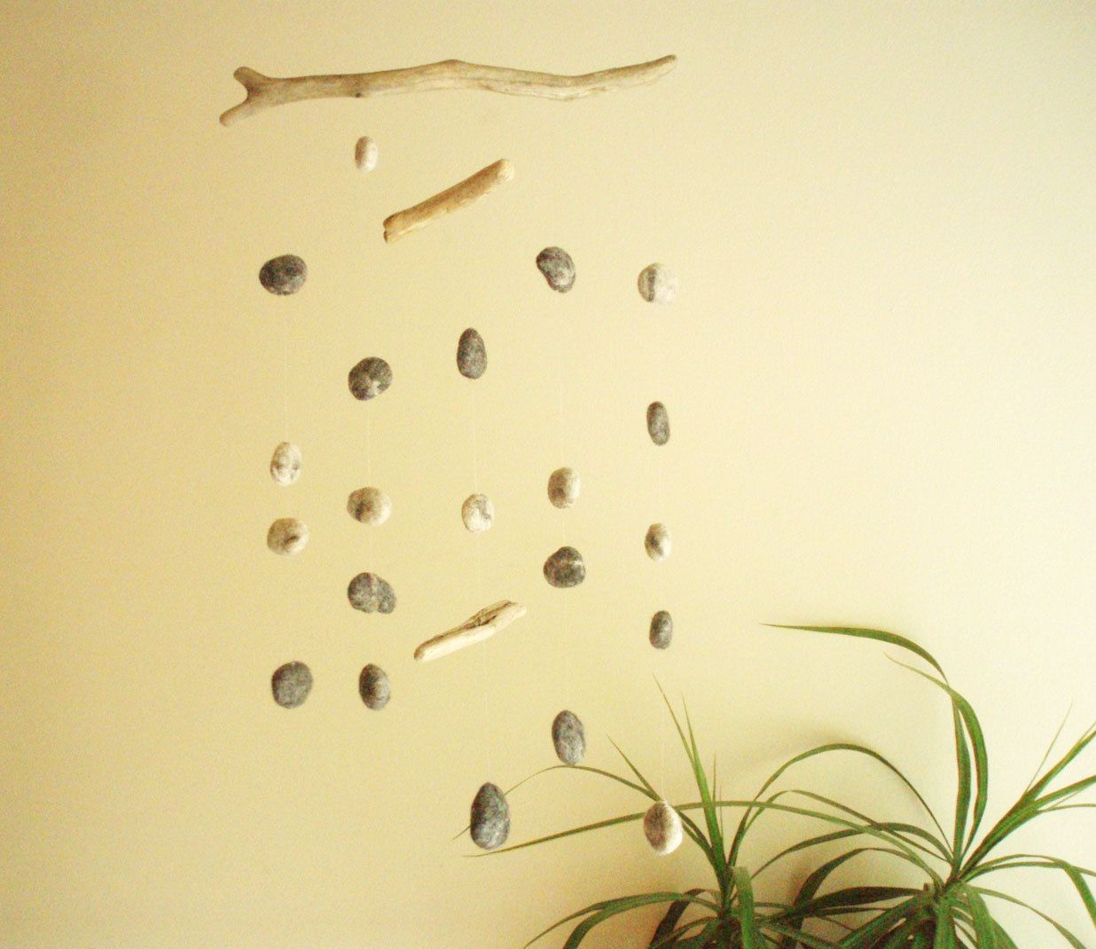 Driftwood and Felt Pebbles Mobile -- Handmade Wall Hanging Home ...
