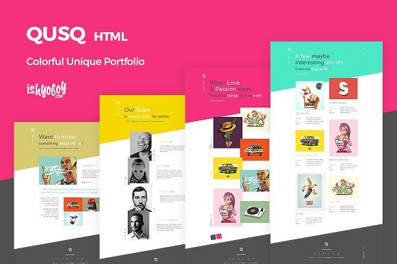 Qusq HTML - Colorful Portfolio | Mobile app ui, Website layout and ...
