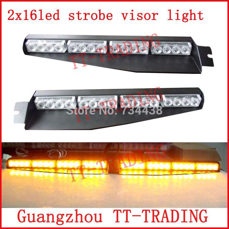Led Strobe Lights For Trucks Impressive 2X16Led Police Strobe Lights Car Visor Light Vehicle Dash Board Led Design Decoration