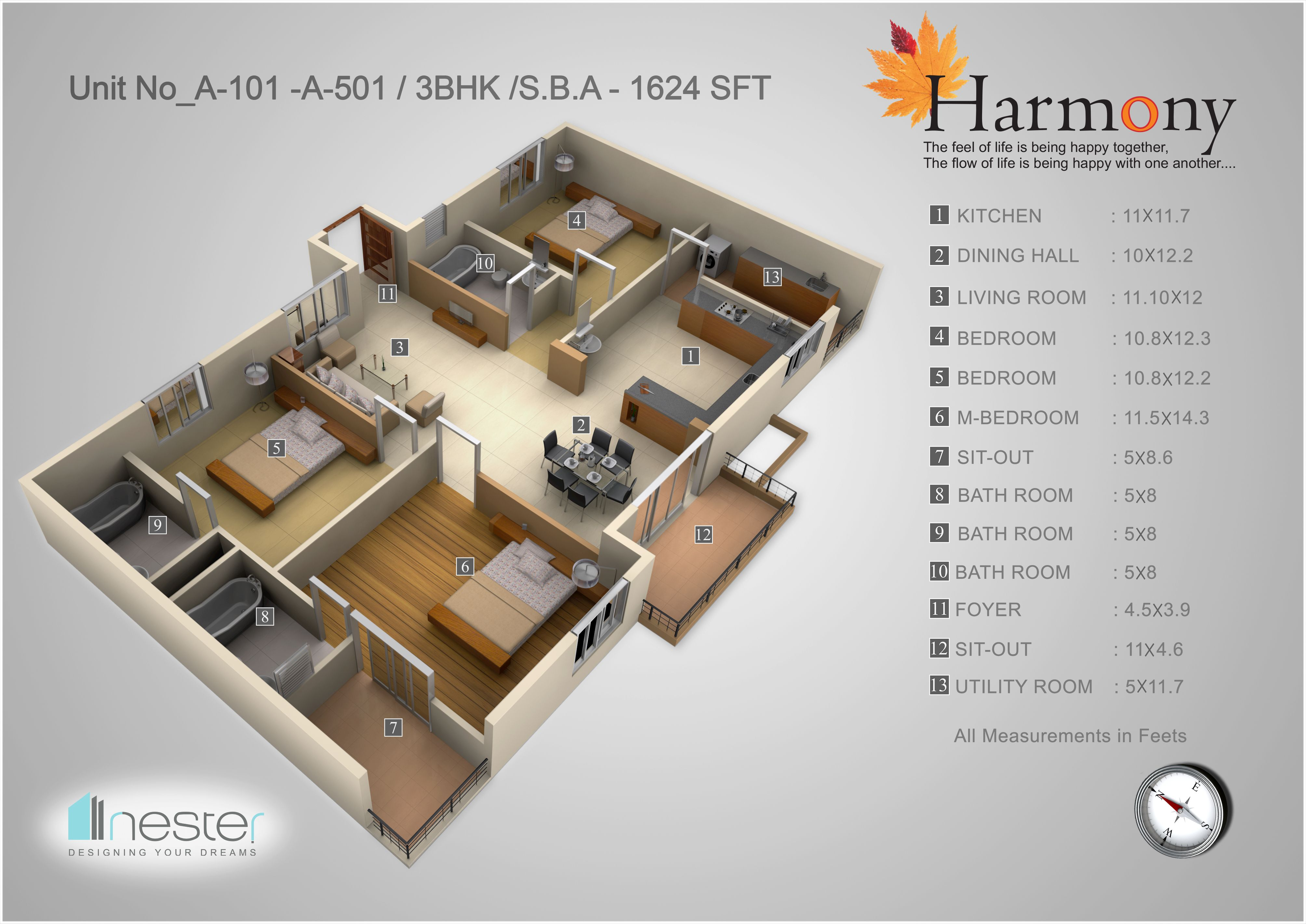 3d Floor Plan Of North Facing 3bhk North Facing House 30x50 House Plans House Plans