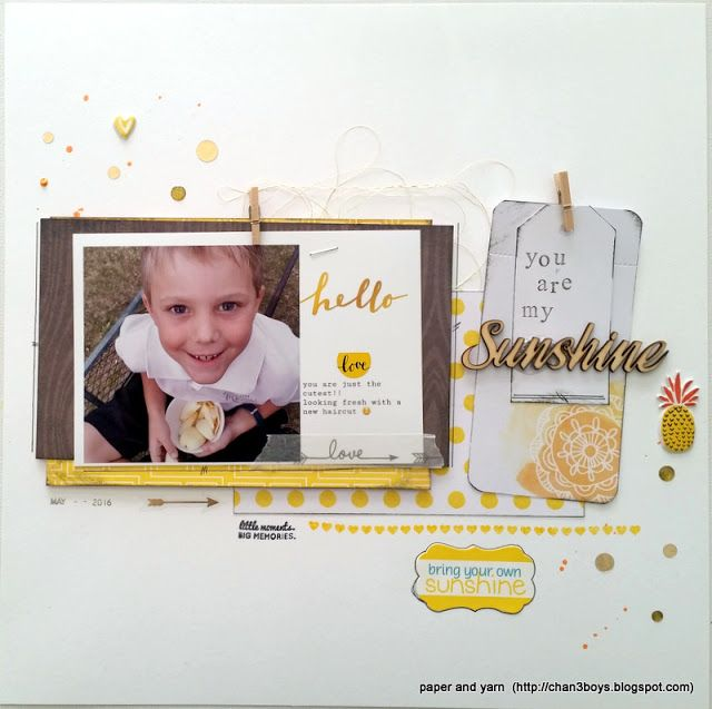 Chantelle - paper and yarn: you are my sunshine - Jot Mood Board July #aussiescrappers