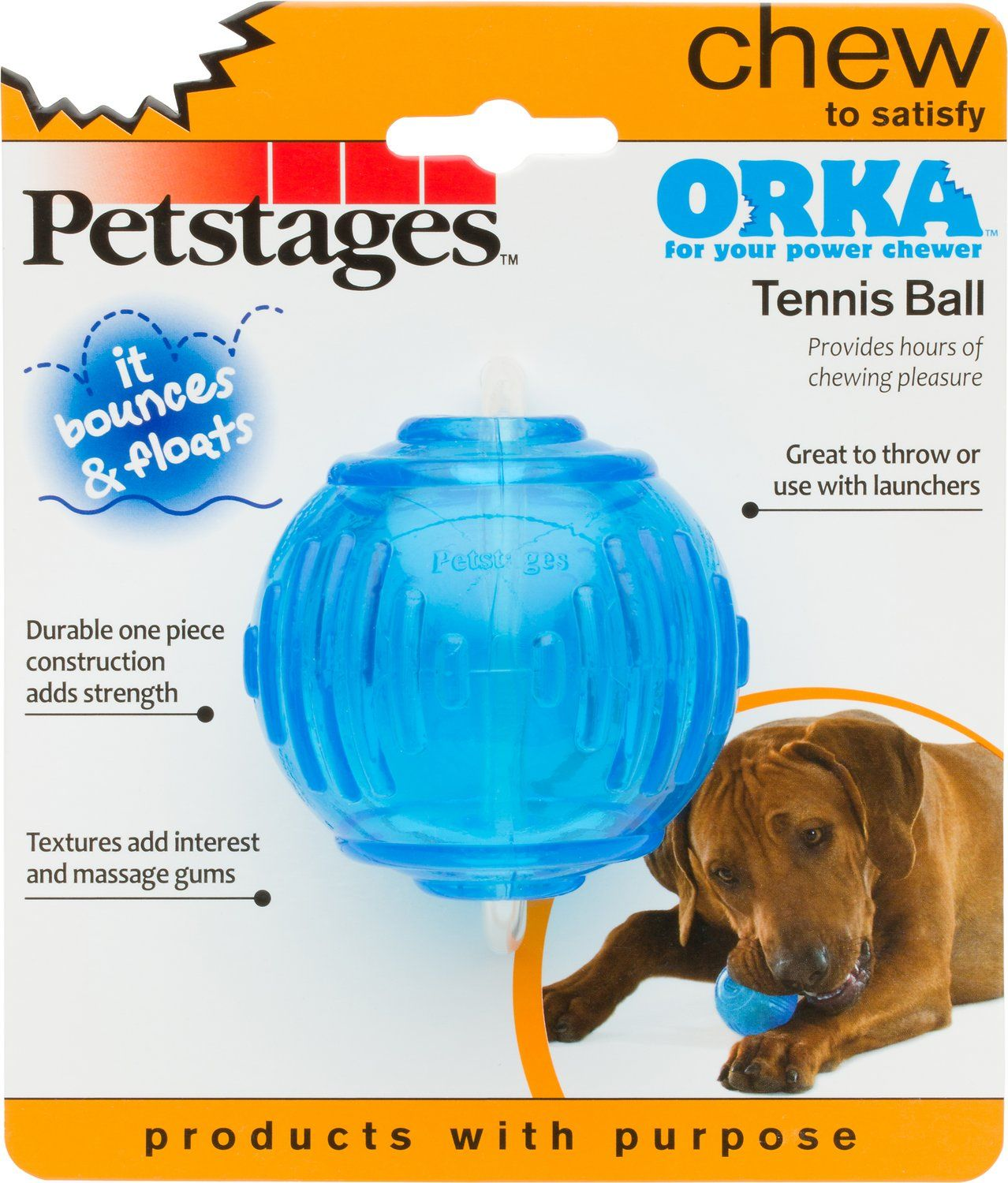 Petstages Orka Tennis Ball Dog Chew Toy Chewy Com Dog Chew