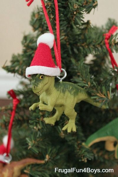 turn toy dinosaurs into christmas ornaments frugal fun for boys and girls pinterest christmas ornaments christmas and ornaments
