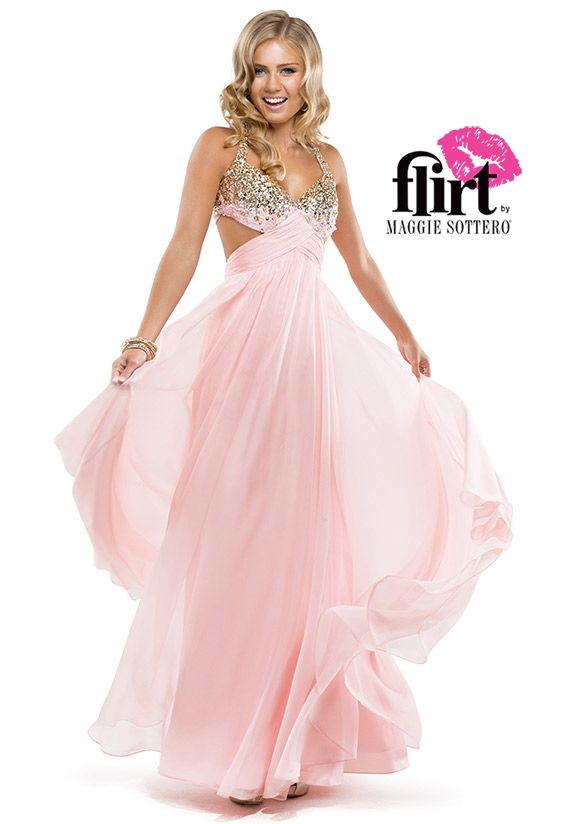 Flirt\'s chiffon A-line with beaded bust and open back tie closure ...