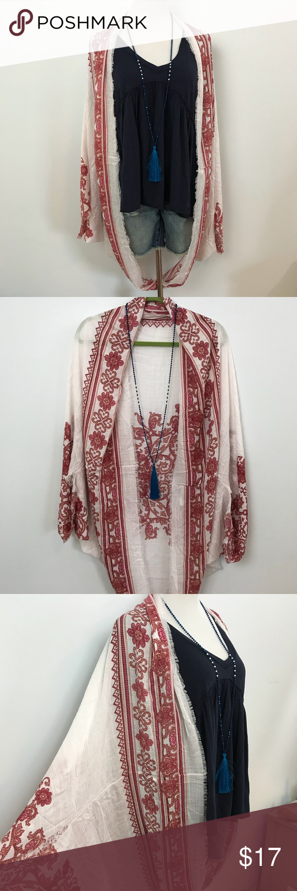 AEO Cocoon Kimono Festival Shrug Red White Print American Eagle Outfitters Printed Cocoon Kimono red and white. Festival Shawl Shrug with raw edges and a Gypsy feeling to it. Vacation must have, easy to pack and throw on in a moment and then fold away. Great for beach honeymoon or exploring Europe. It will keep your warm on any air plane or sailboat. And of course, a Coachella MUST. NWOT last pic is outfit ideas. American Eagle Outfitters Accessories Scarves & Wraps #beachhoneymoonclothes AEO Co #beachhoneymoonclothes