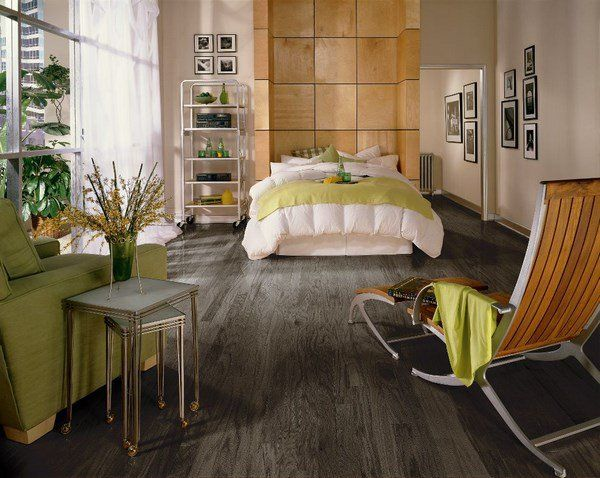 Grey Hardwood Floor Ideas Bedroom Design Beige Yellow Accents Green Armchair