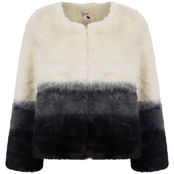 Yumi Dip-Dye Faux Fur Coat (157,245 KRW) ❤ liked on Polyvore ...