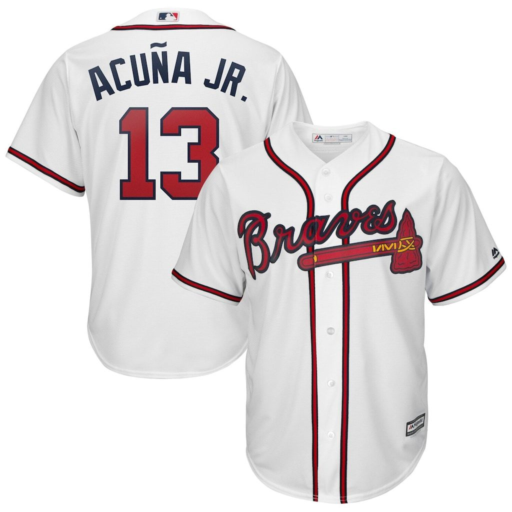 Men S Majestic Ronald Acua A Jr White Atlanta Braves 2019 Home Official Cool Base Player Jersey Size Xl In 2020 Atlanta Braves Dansby Swanson Dallas Keuchel
