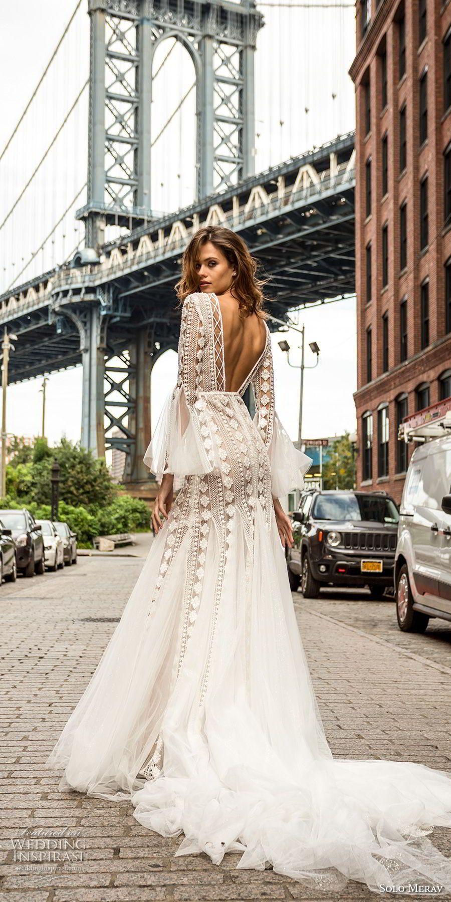 Solo merav bridal long lantern sleeves v neck full