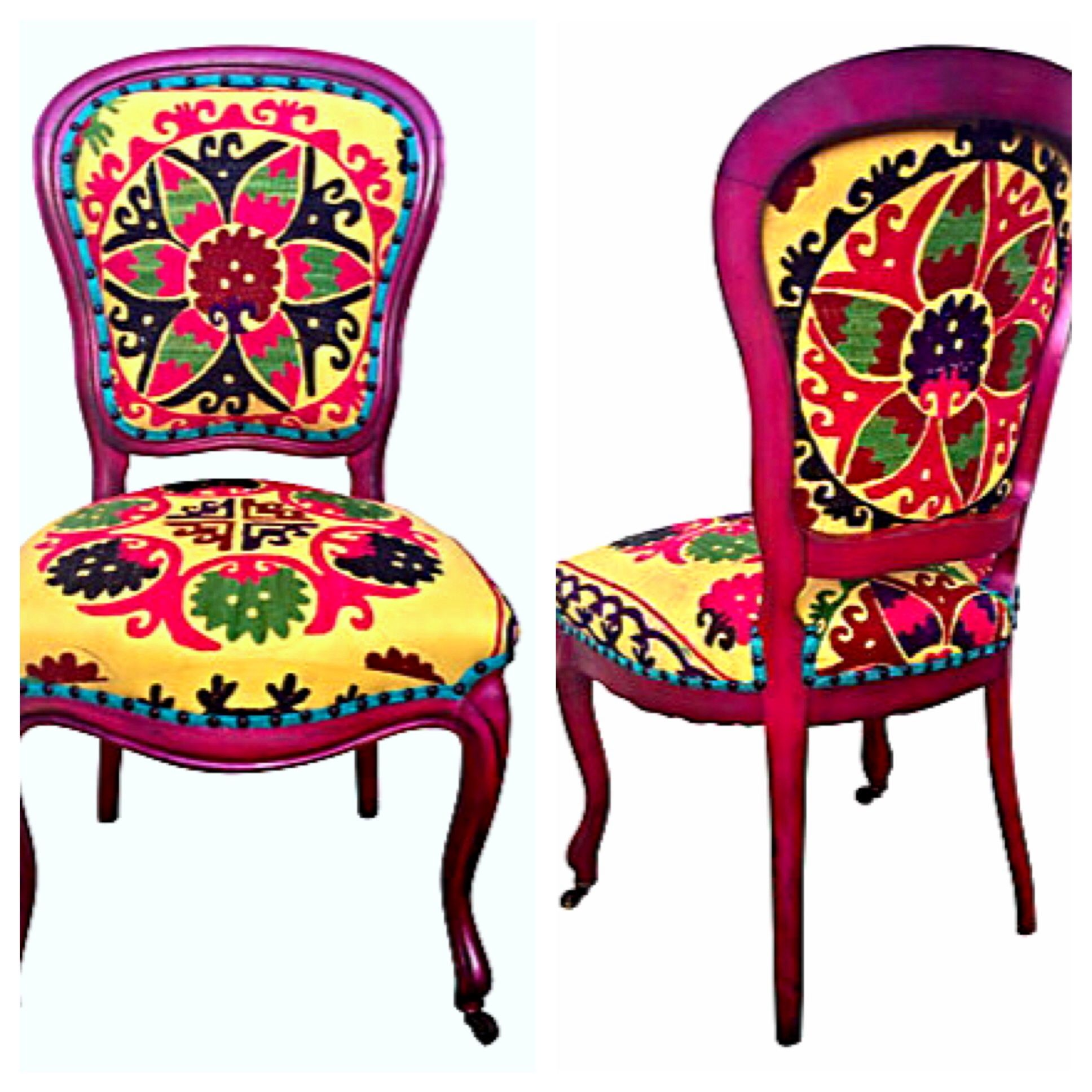 Antique vintage parlor side chair with front castors. Painted fuschia pink  and aged distressed finish