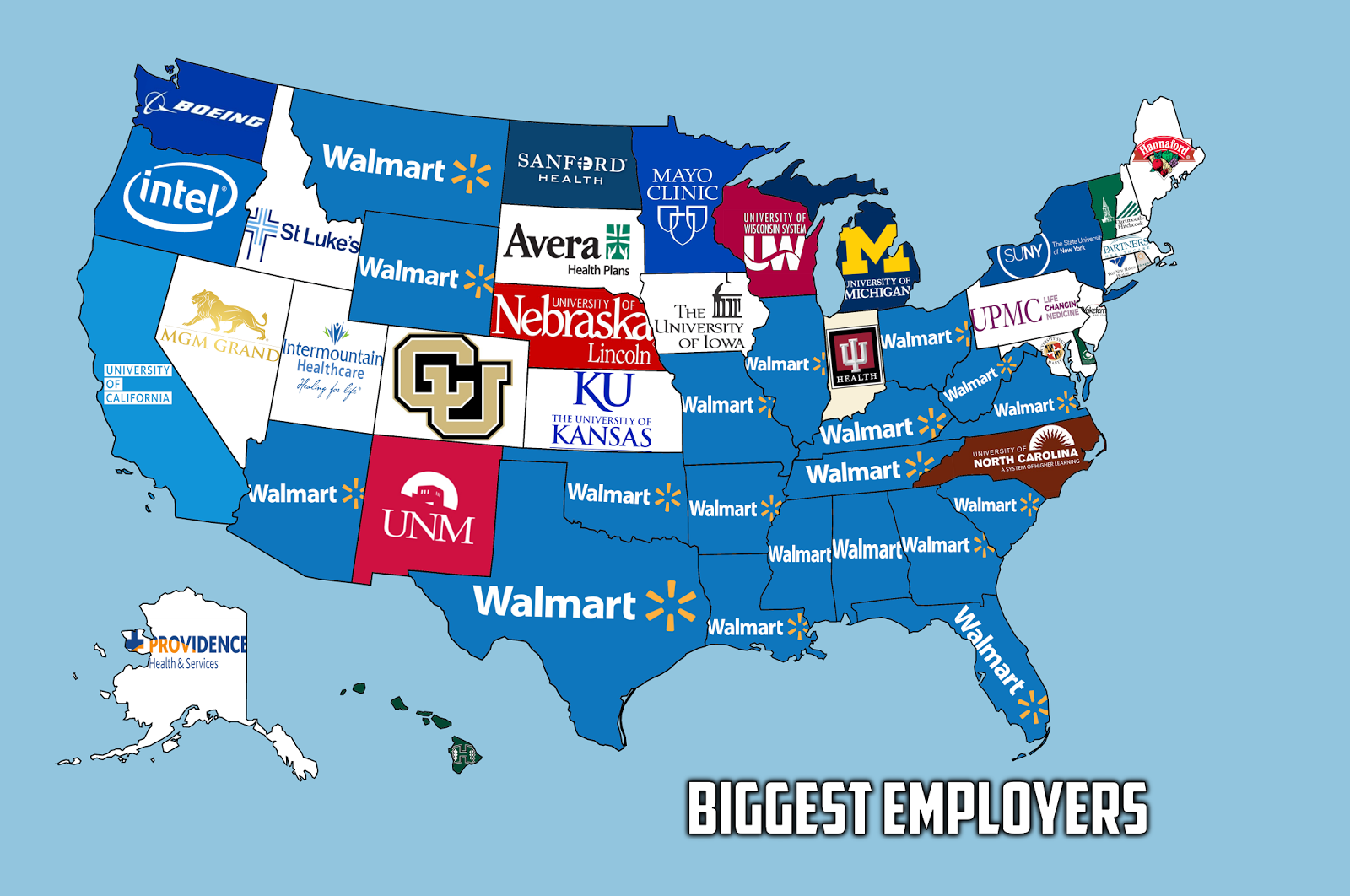 The biggest nongovernment employer in each US state Map