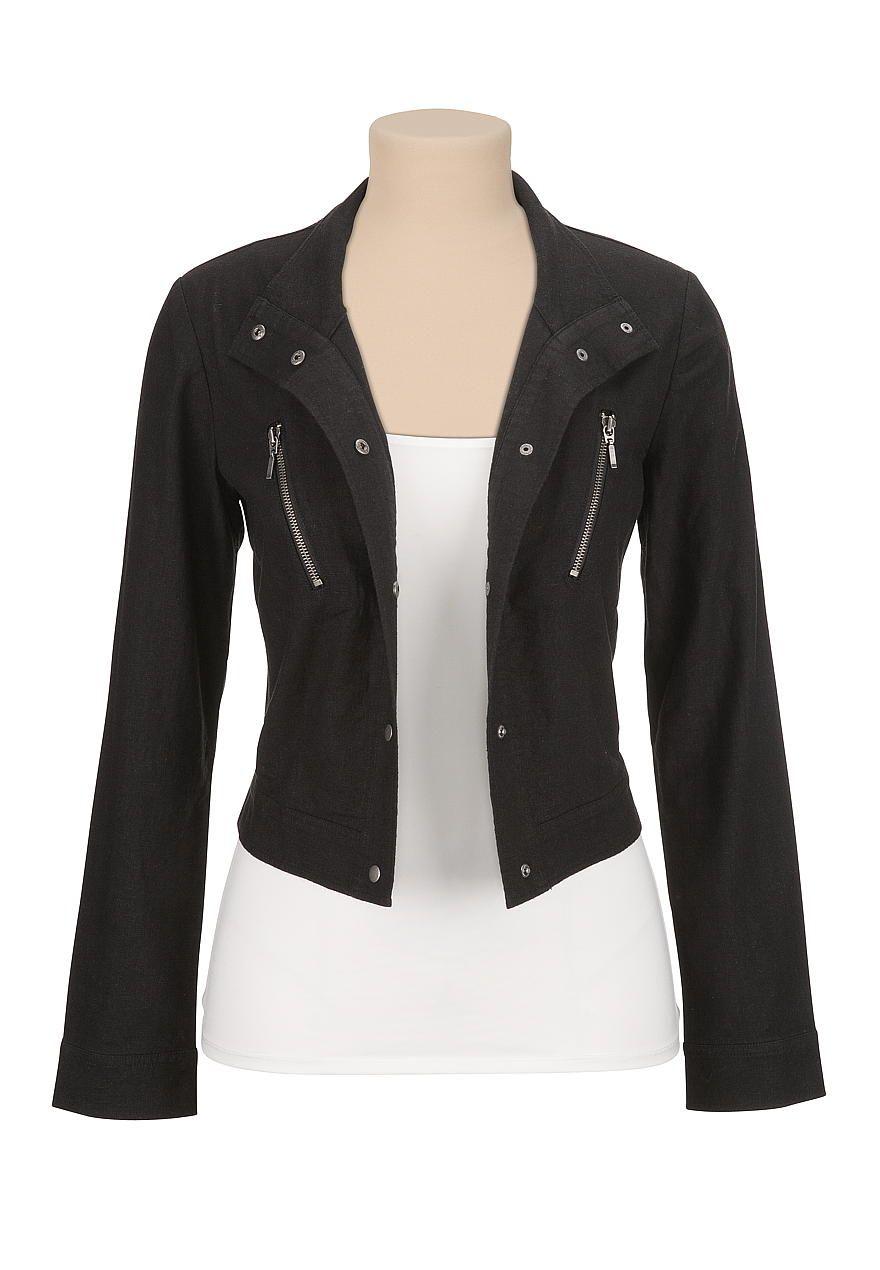 Cropped lightweight shirt jacket