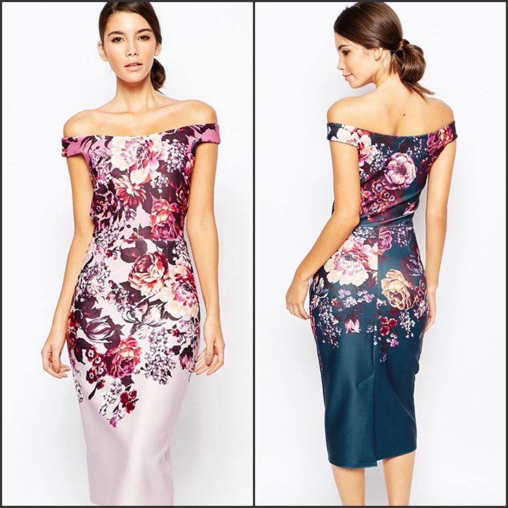 Womenus new formal elegant floral below knee off shoulder evening