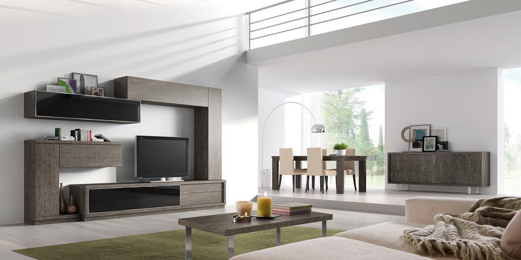 ambiente de saln comedor con muebles modulares modernos