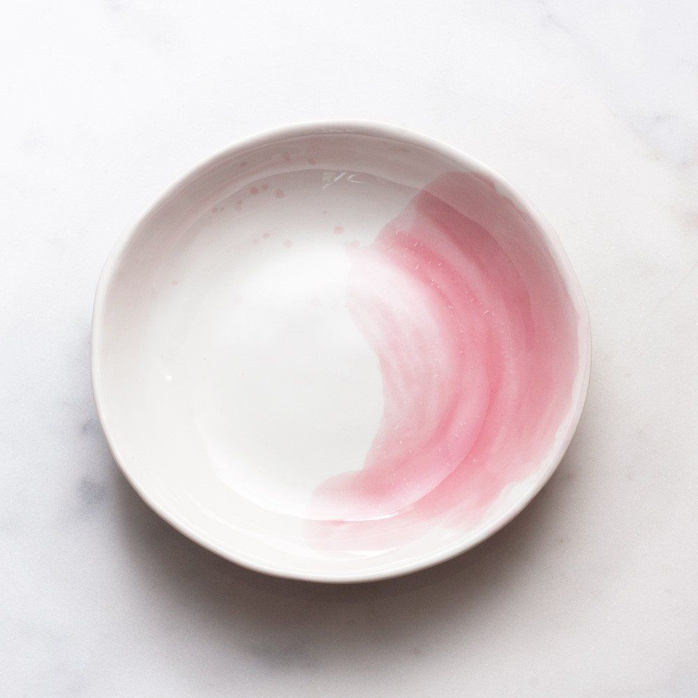 Organic Bowl in White with Rose Splatter – Suite One Studio