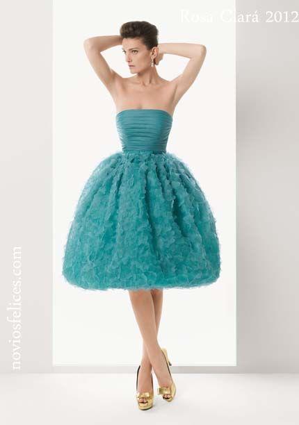 Vestido fiesta corto turquesa