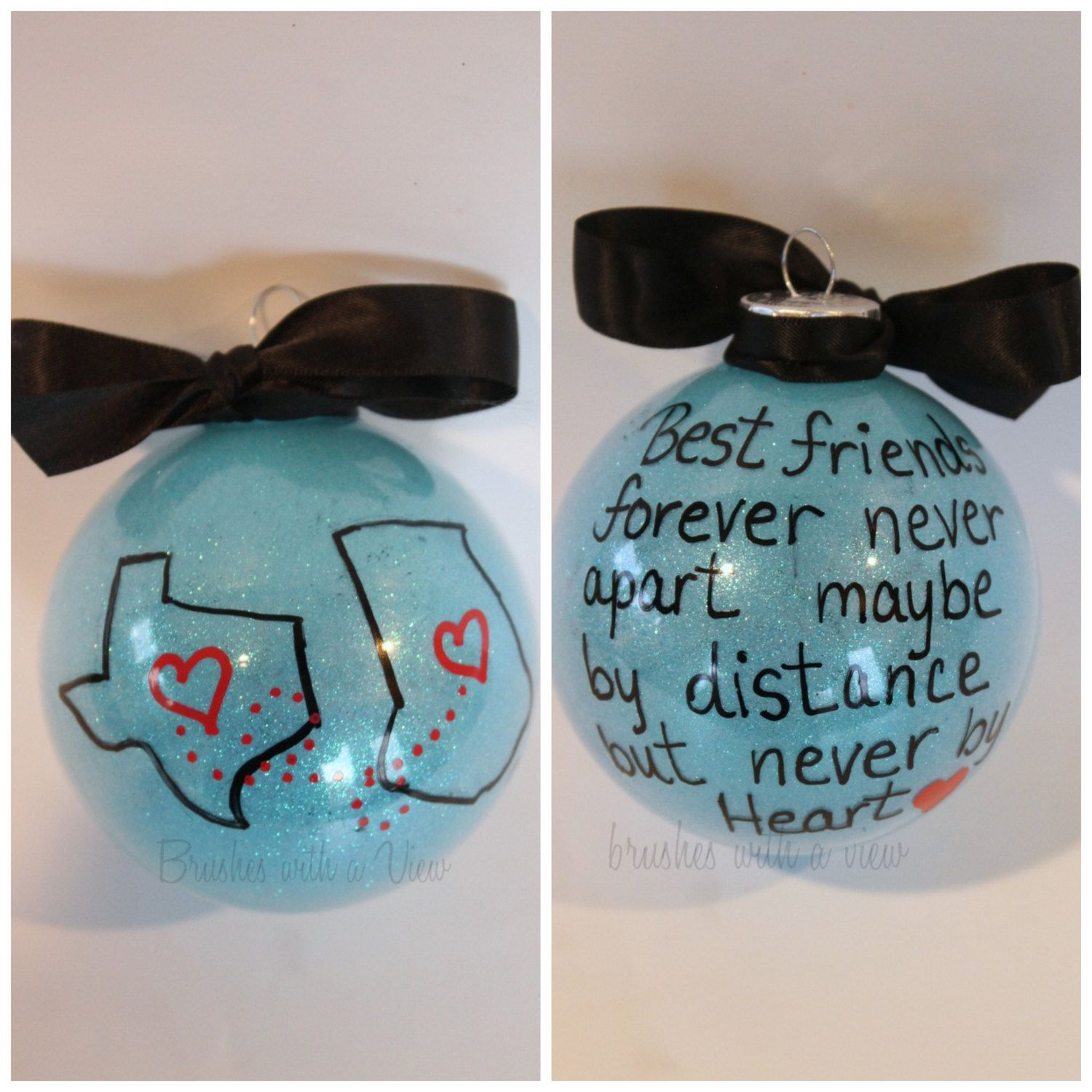 state or country christmas ornament best friends christmas gift moving away away from home long distance relationship by brusheswithaview on etsy - Best Friend Christmas Ornaments