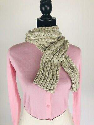 Photo of Details about J.CREW Gray Silver Metallic Neck Knitted Scarf