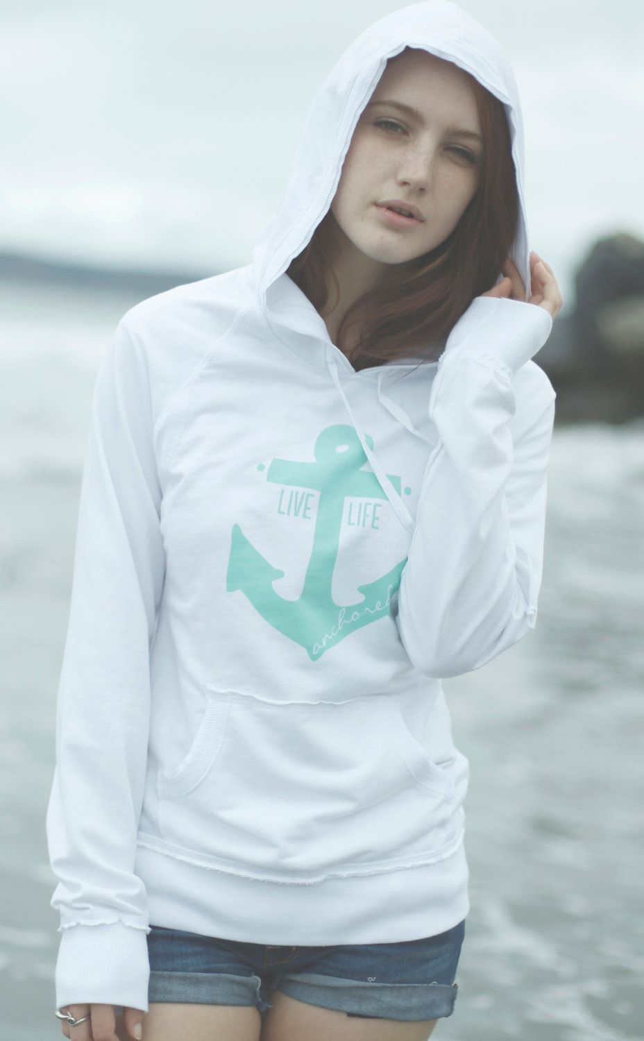 13fba4fb9cd1d7 SMALL Live Life Anchored Raw Edge Hoodie White and Mint   Pinterest ...
