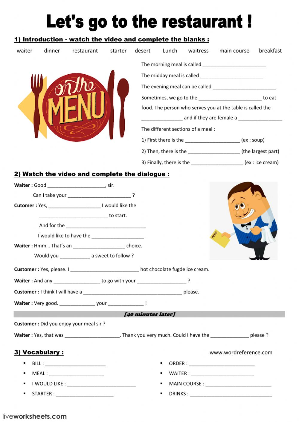 At the restaurant interactive and downloadable worksheet