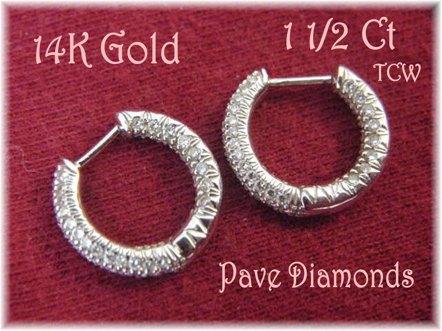 14K White Gold - 1.50 Ct Sparkling Pave Diamond Huggie Hoop Earrings - Estate - Gift Box - Perfect Gift Christmas Anniversary FREE SHIPPING