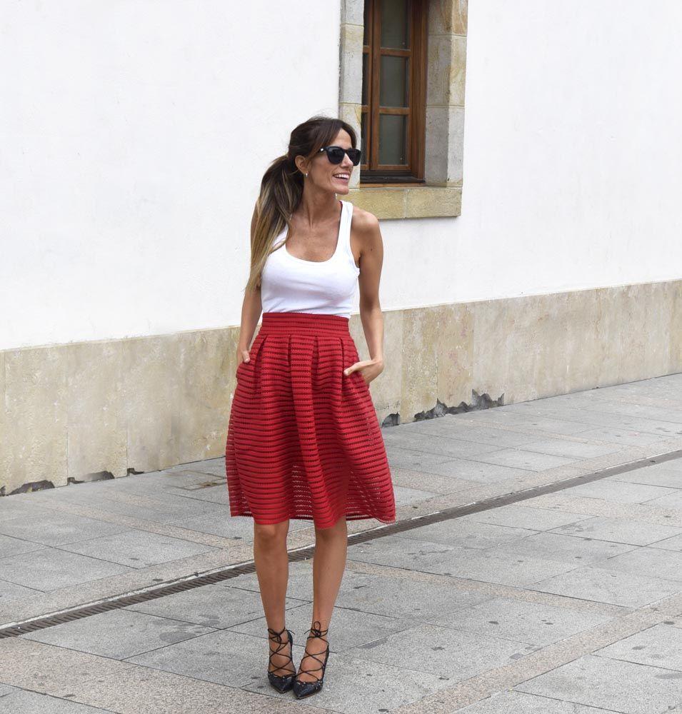 red pump skirt