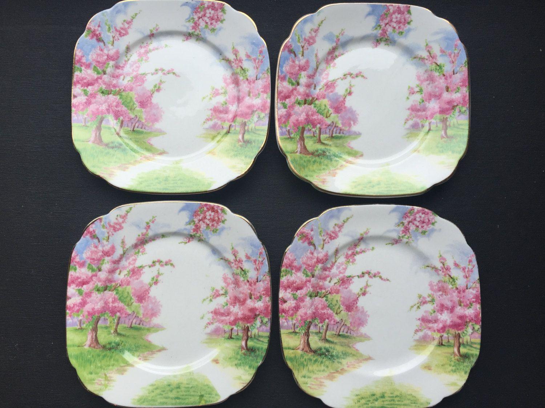 Royal Albert  Blossom Time  Vintage Square Side Plates Pink Tree Dishes Bone & Royal Albert