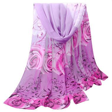 Best Deal New Fashion Women Beautiful Rose Pattern Chiffon Shawl Wrap Wraps Scarf Scarves Gift 1PC