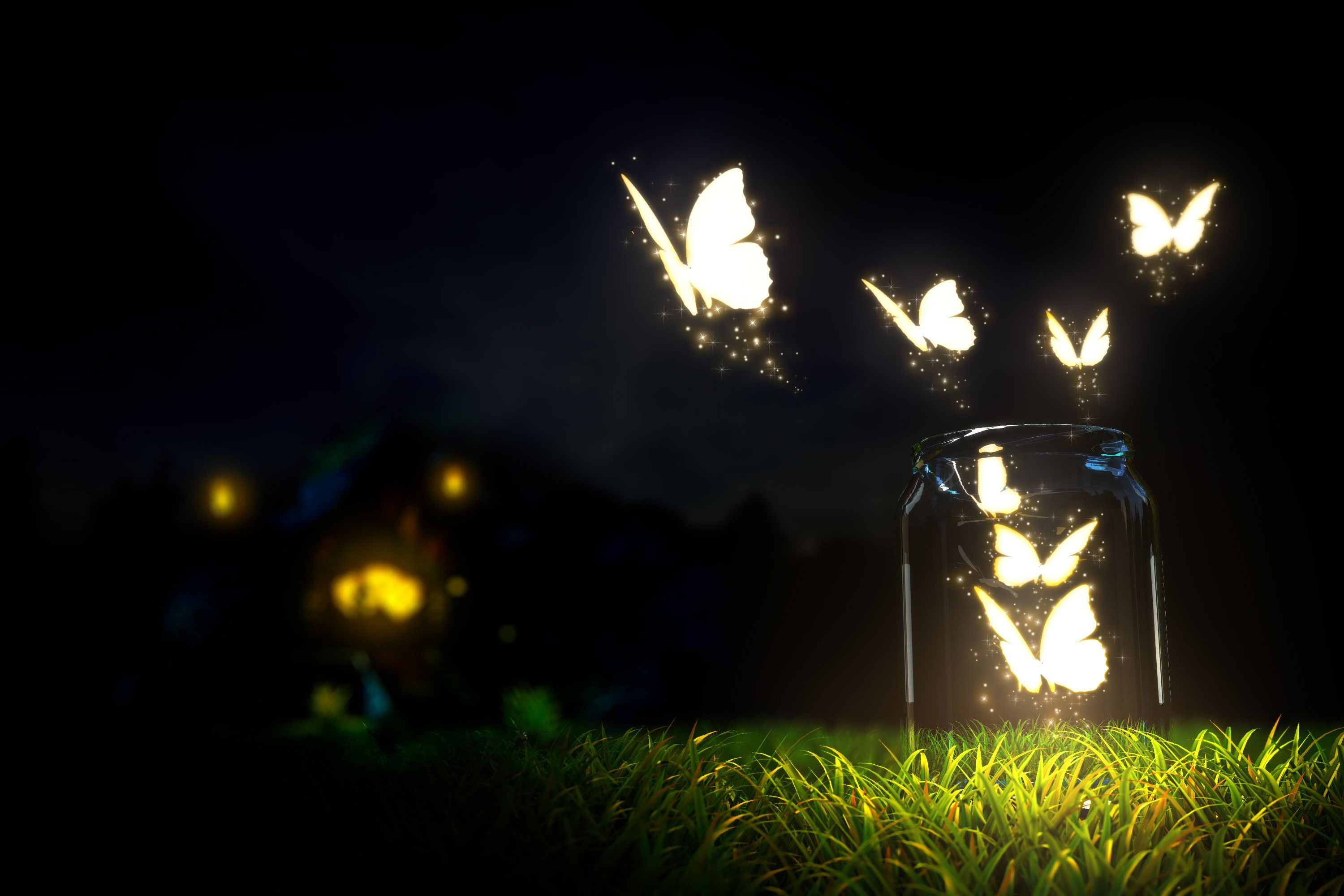 Glowing Butterflies Lighting In The Dark Beautiful Nature Landscapes Desktop Wallpapers Awsome Landscape Wallpapers Hd Wallpaper D Kupu Kupu Bintang Malam