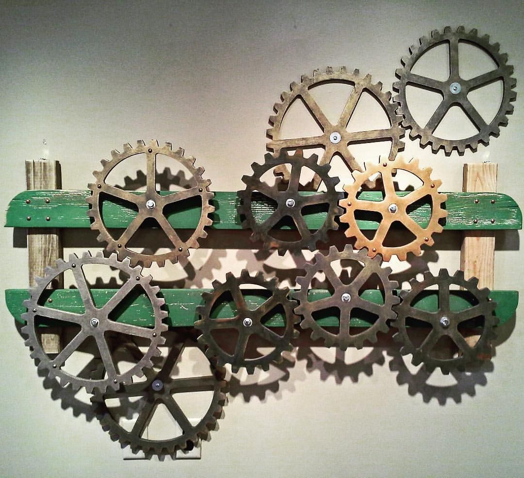 Gears Wall Art Industrial Steampunk Rustic Country Theme Gear Set Green Brown Home Decor Wall Decor Office Deco Color Schemes Gear Sets Office Decor