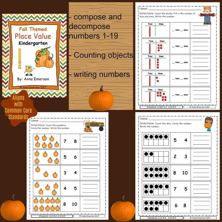Place Value Kindergarten: Fall Themed | Pre-school, Number writing ...