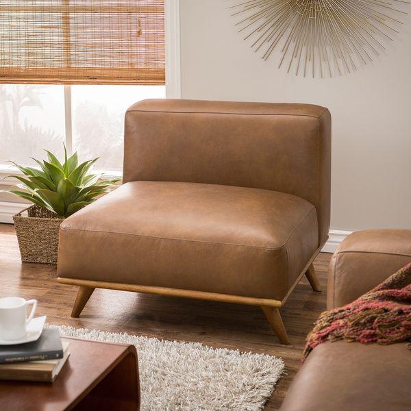 Dante Italian Oxford Armless Tan Leather Chair