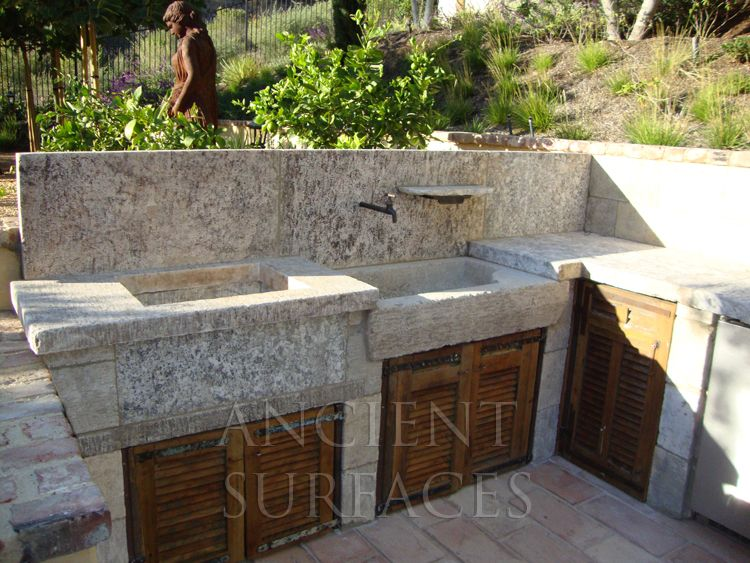 Antique Stone Sinks By Ancient Surfaces For Years Our Antique Stone Sinks Have Been A Badge Of Honor In Any Grand With Images Outdoor Sinks Stone Sink Kitchen Garden Sink