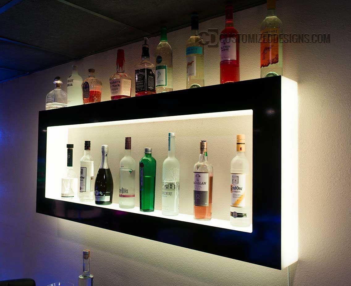 Lighted Back Bar Wall Display Shelves Led Lighting Modern Design Diy Home Bar Wall Bar Home Bar Designs