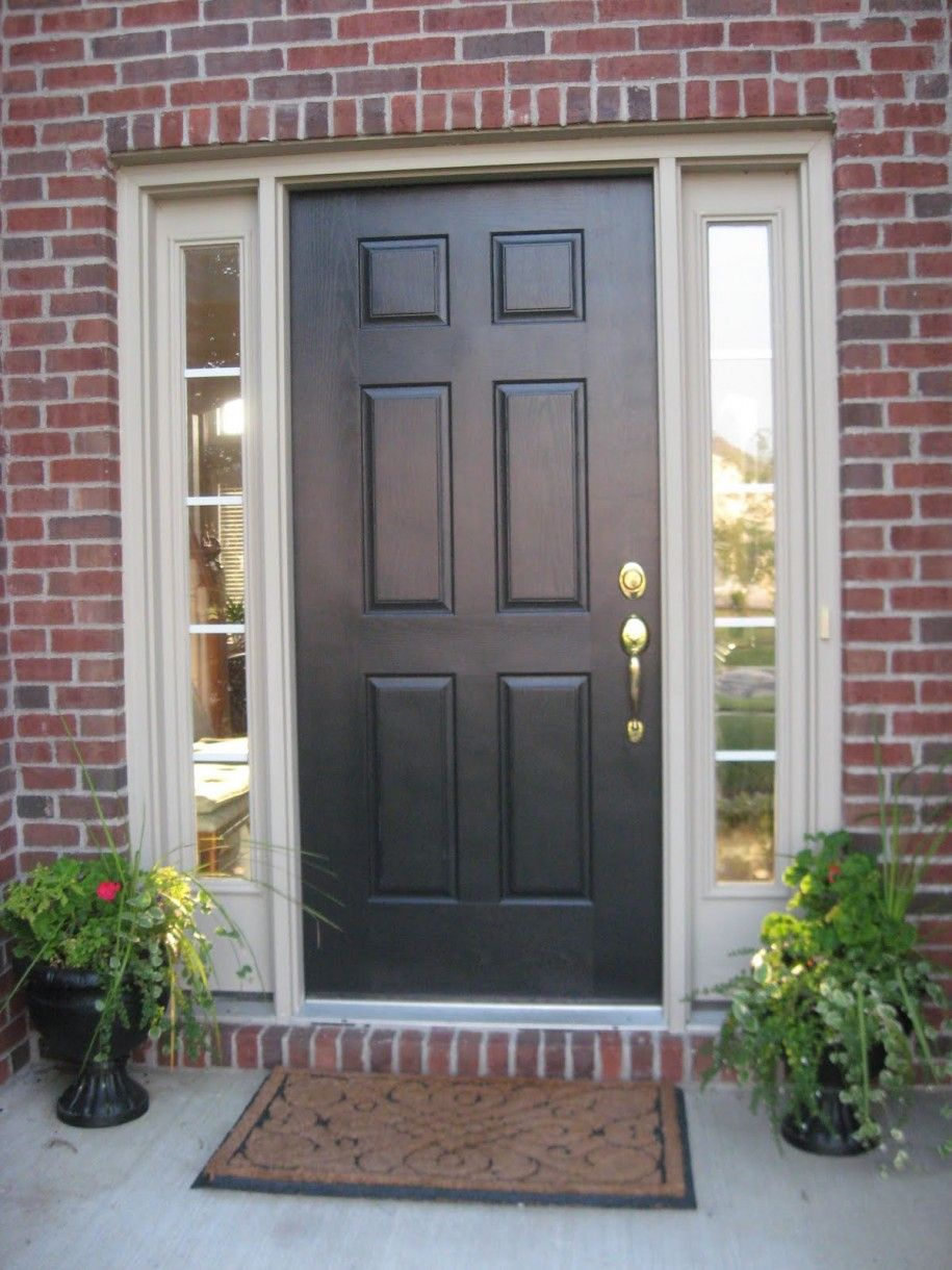 Fascinating Front Door Pictures Design With Wooden Also Pottery Beauty Plants And Nice Brick Wall